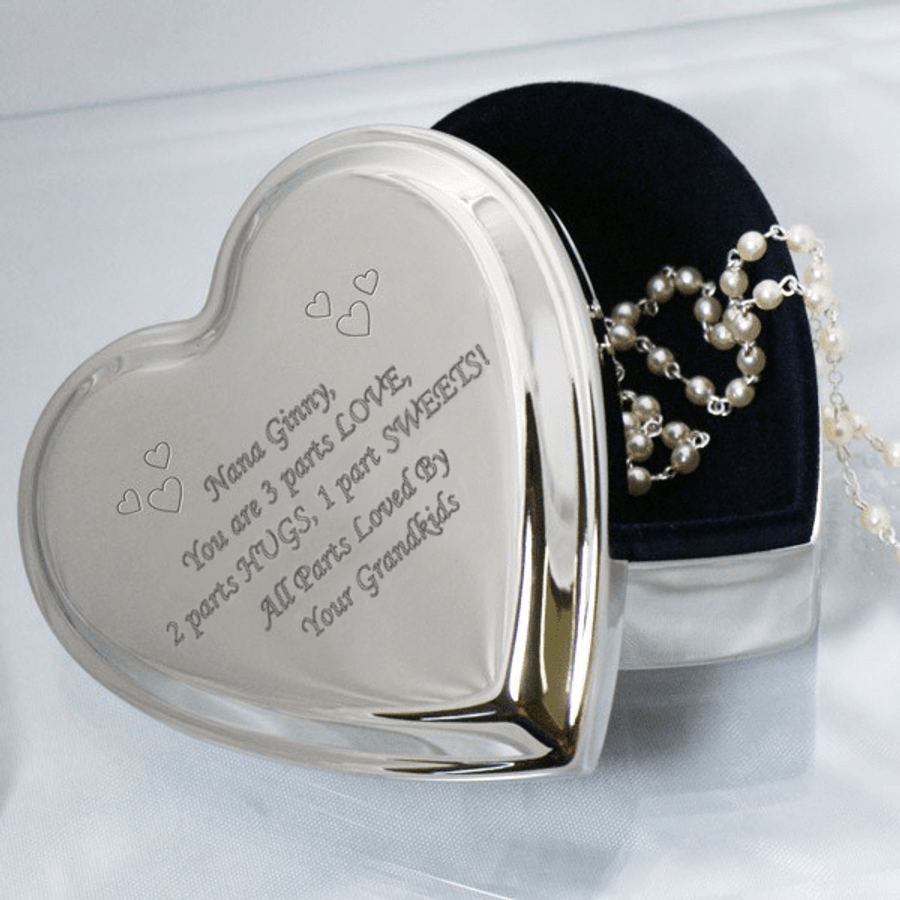 Personalized Silver Heart Box for Grandma