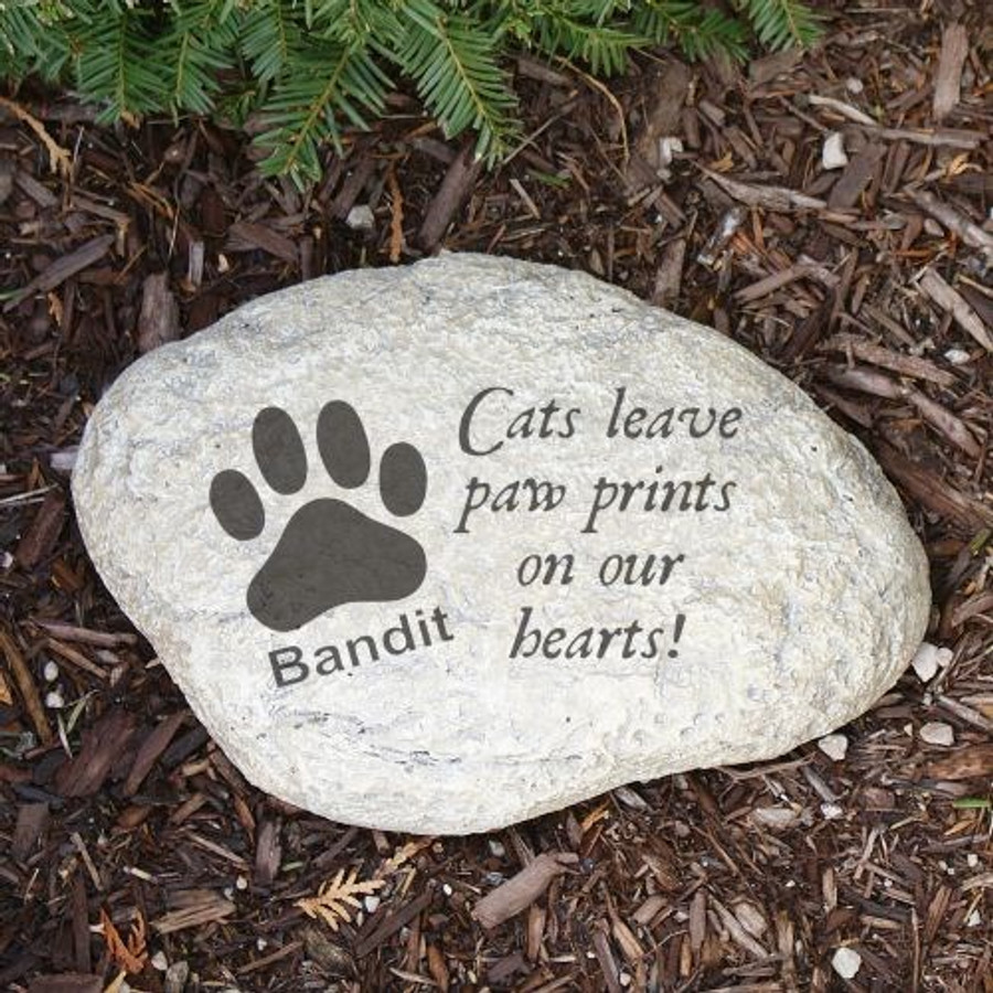 Personalized memorial garden stone for a special cat.