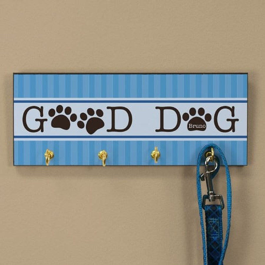Attractive Good Dog leash holder with four hooks can be personalized for your special pet.