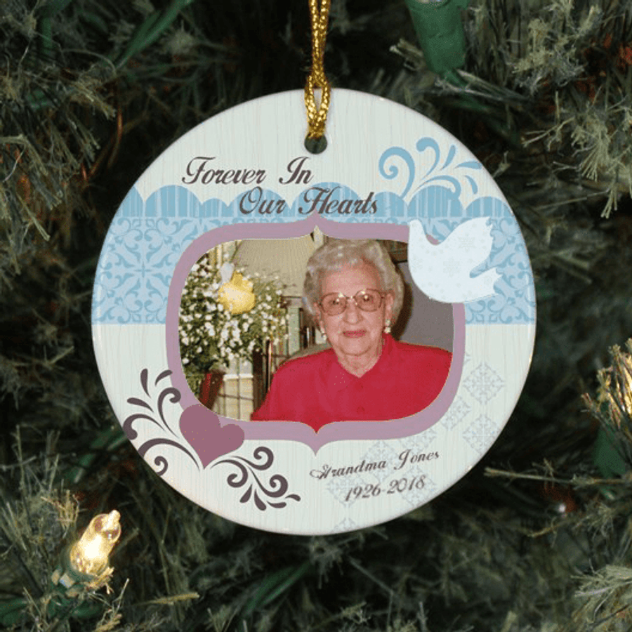 """Personalized """"Forever In Our Hearts"""" Ceramic Ornament"""