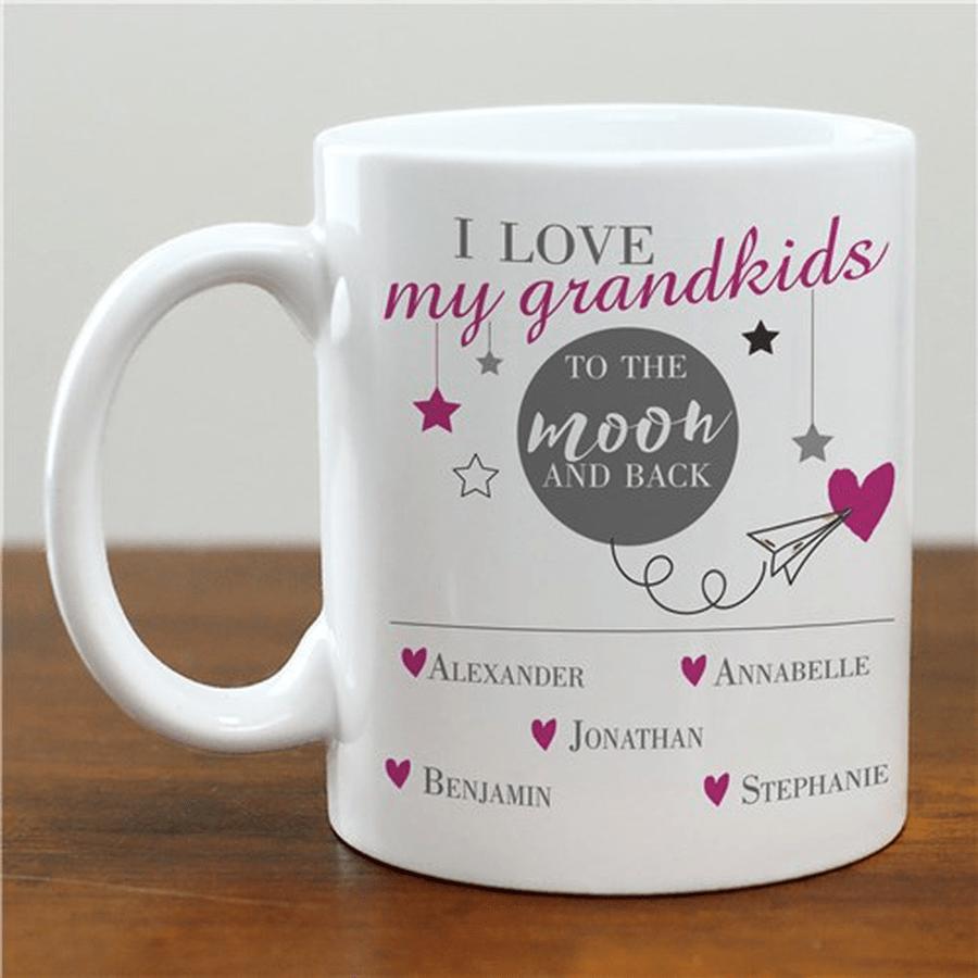 "Personalized Grandma or Grandpa Mug ""I Love My Grandkids To The Moon And Back"""