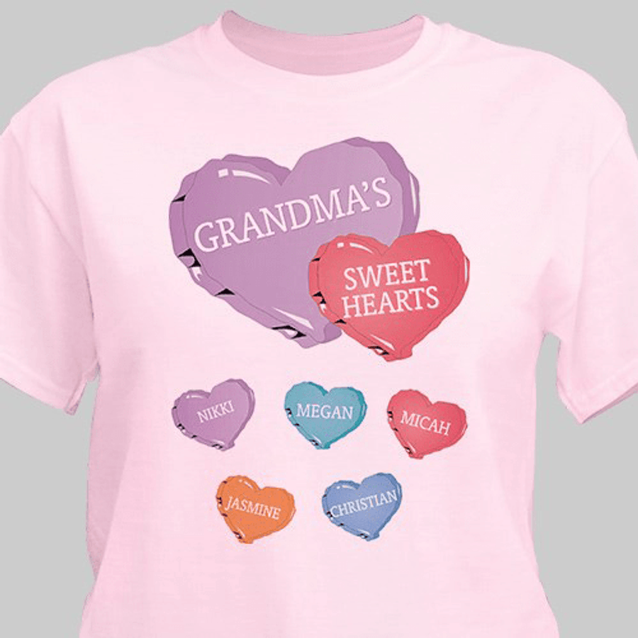 Personalized Grandma T-Shirt - Grandma's Sweet Hearts
