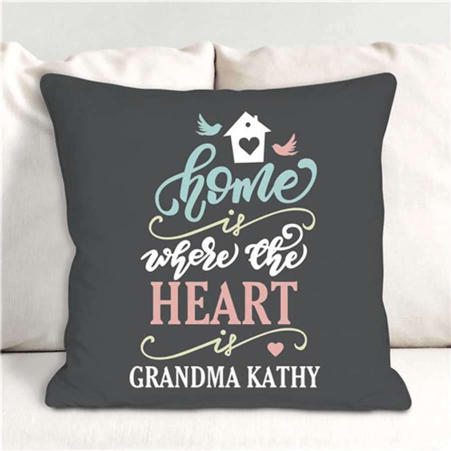 """Personalized throw pillow for a special Grandma - """"Home is where the Heart is"""""""