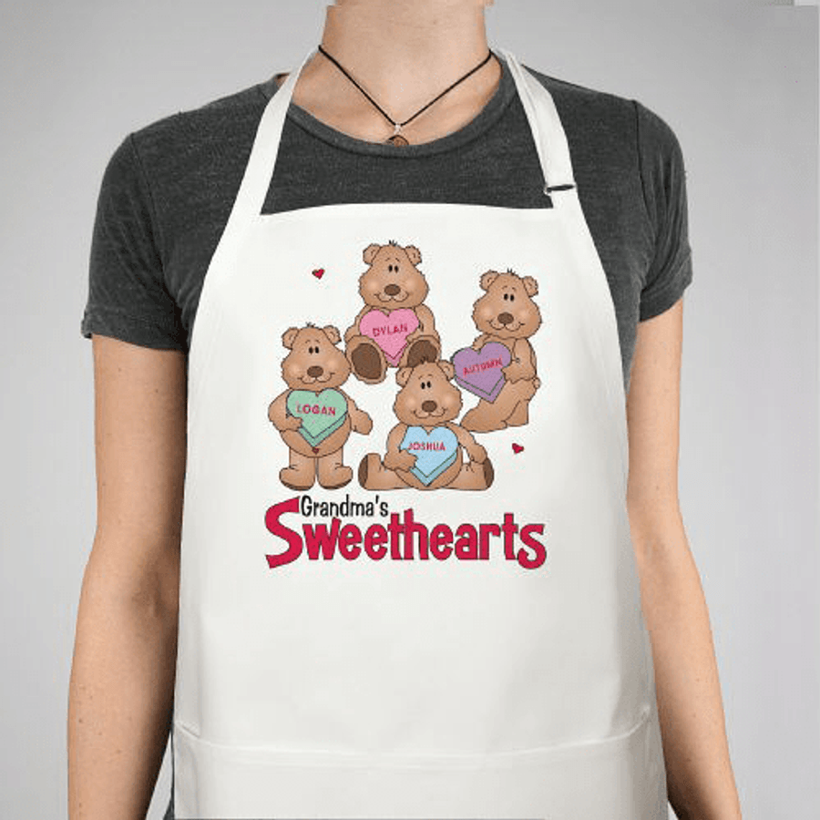"Beary Cute Personalized Apron ""Grandma's Sweethearts"""
