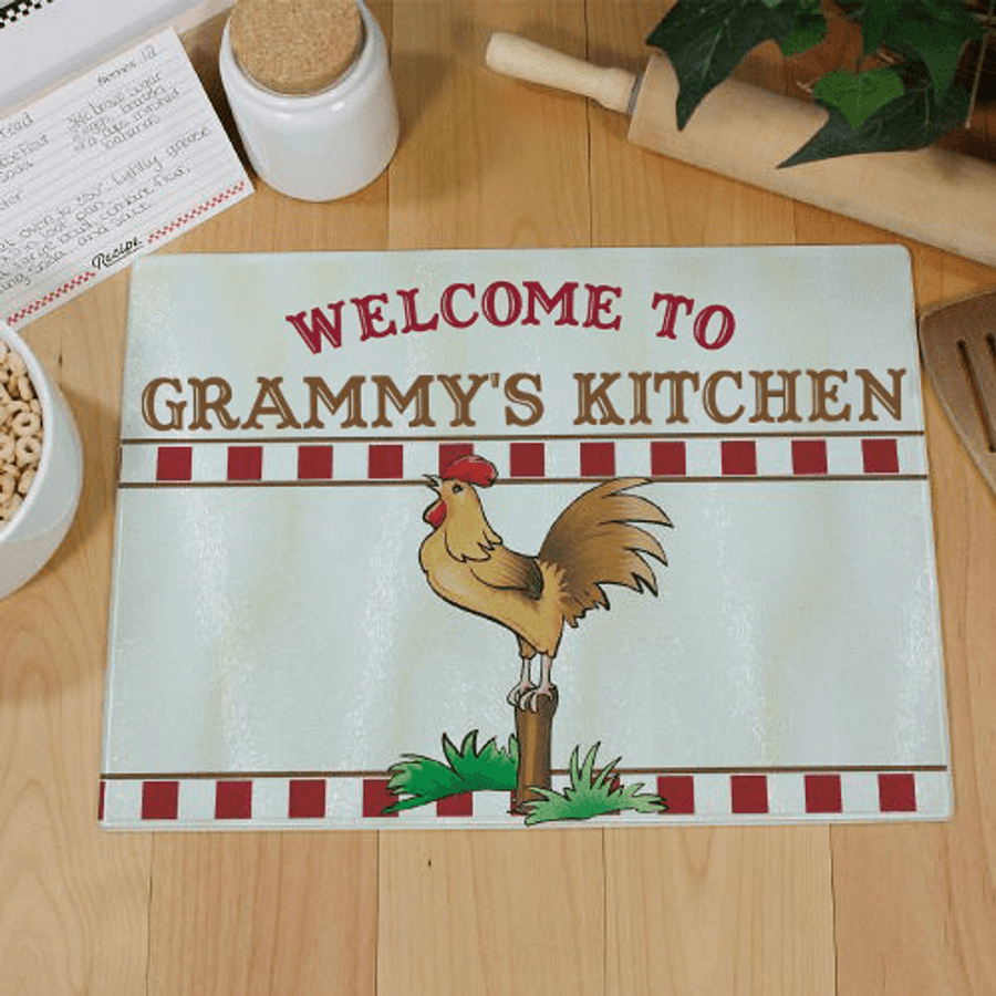 Personalized Glass Cutting Board for Grandma's Kitchen