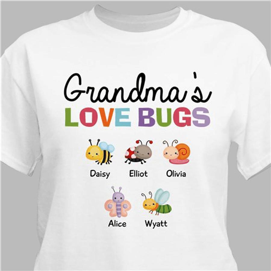 "Personalized T-Shirt ""Grandma's Love Bugs"" - White"