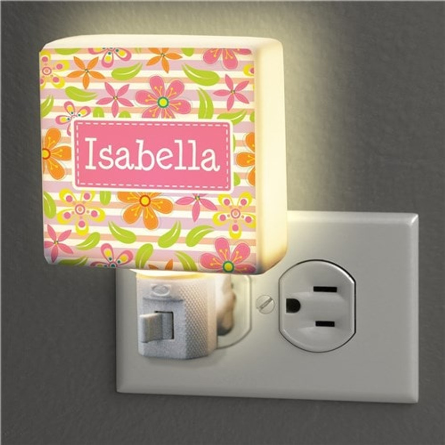 Floral night light can be personalized for your favorite child.
