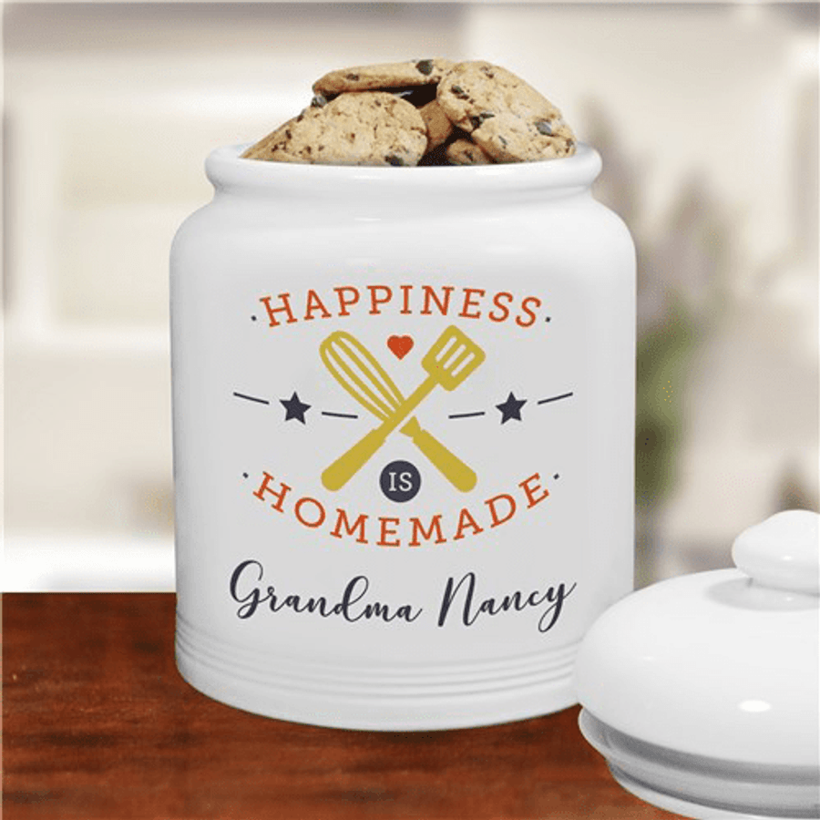 """Personalized """"Happiness Is Homemade"""" Cookie Jar for Grandma"""