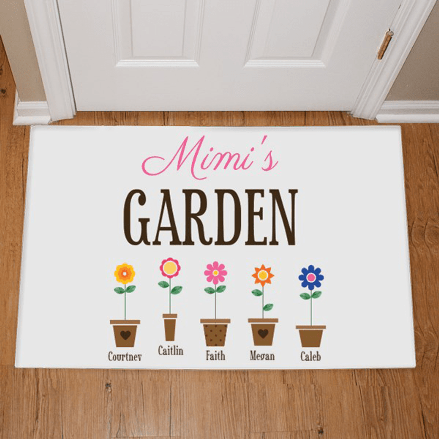 "Personalized Doormat ""Grandma's Garden"" with Grand Flowers!"