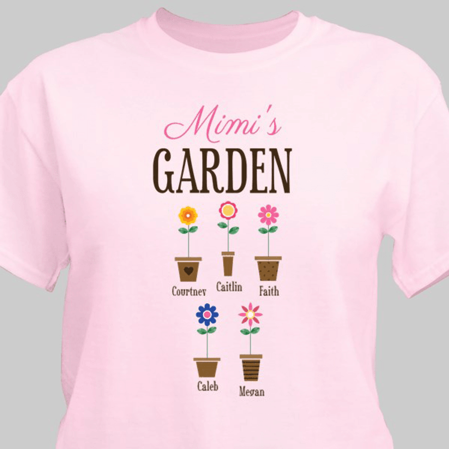 """Personalized T-Shirt """"Grandma's Garden"""" with Grand Flowers! (Pink)"""