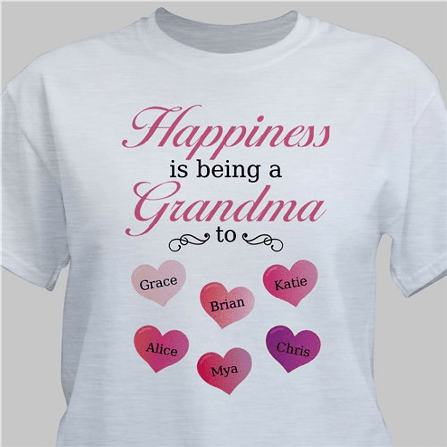 """Personalized T-Shirt """"Happiness is Being a Grandma"""" (Gray)"""