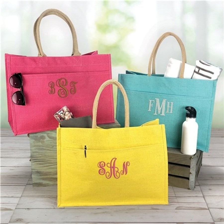 Soft and colorful jute tote embroidered for a special lady, in choice of six colors.