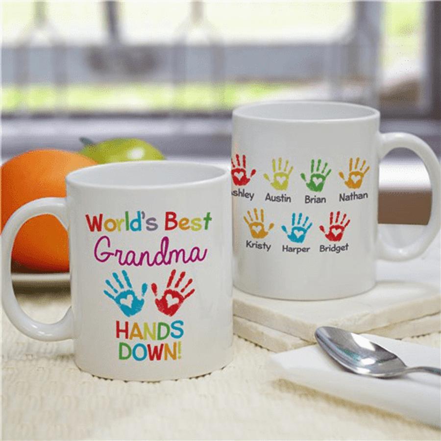 "Personalized ""World's Best Grandma...Hands Down!"" Mug"