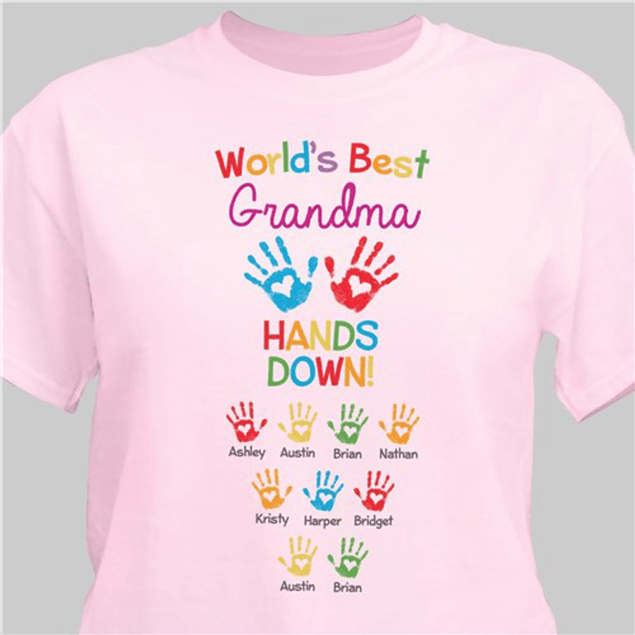 """Personalized T-Shirt """"World's Best Grandma - Hands Down"""" (Pink)"""