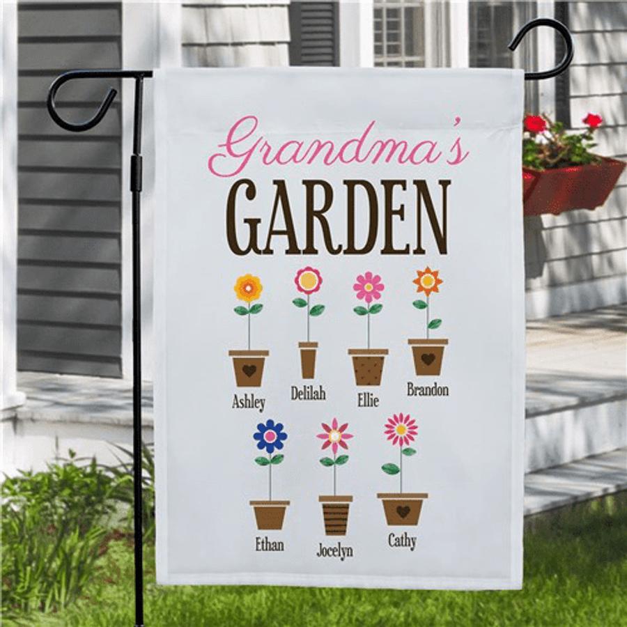 """Personalized """"Flower Pot"""" Garden Flag for Grandma"""