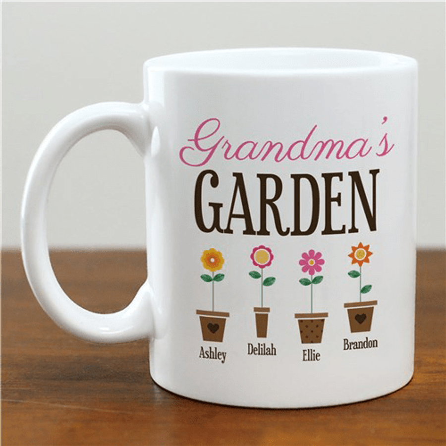 "Personalized ""Grandma's Garden"" Mug for her Grand Flowers"