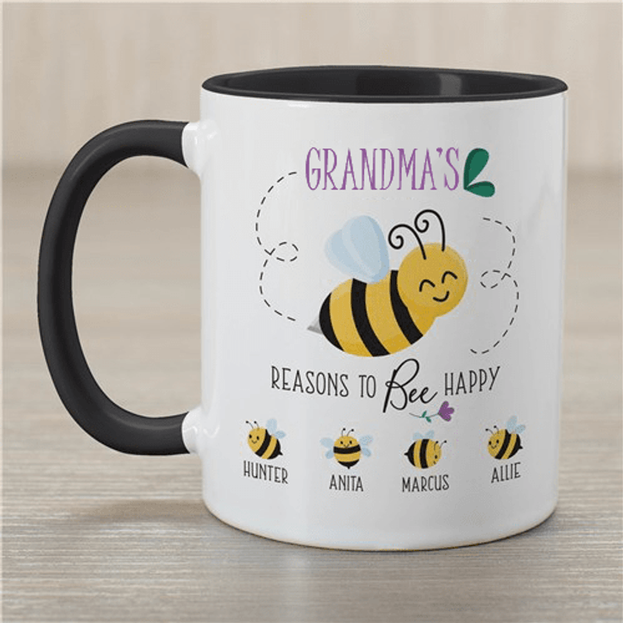 Personalized grandma mug with Reasons To Bee Happy! (Two-tone Mug)