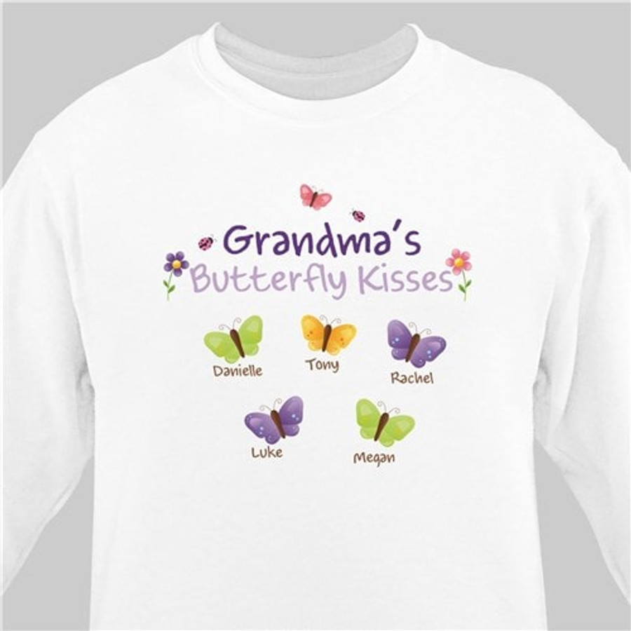 White personalized sweatshirt for Grandma's butterfly kisses.