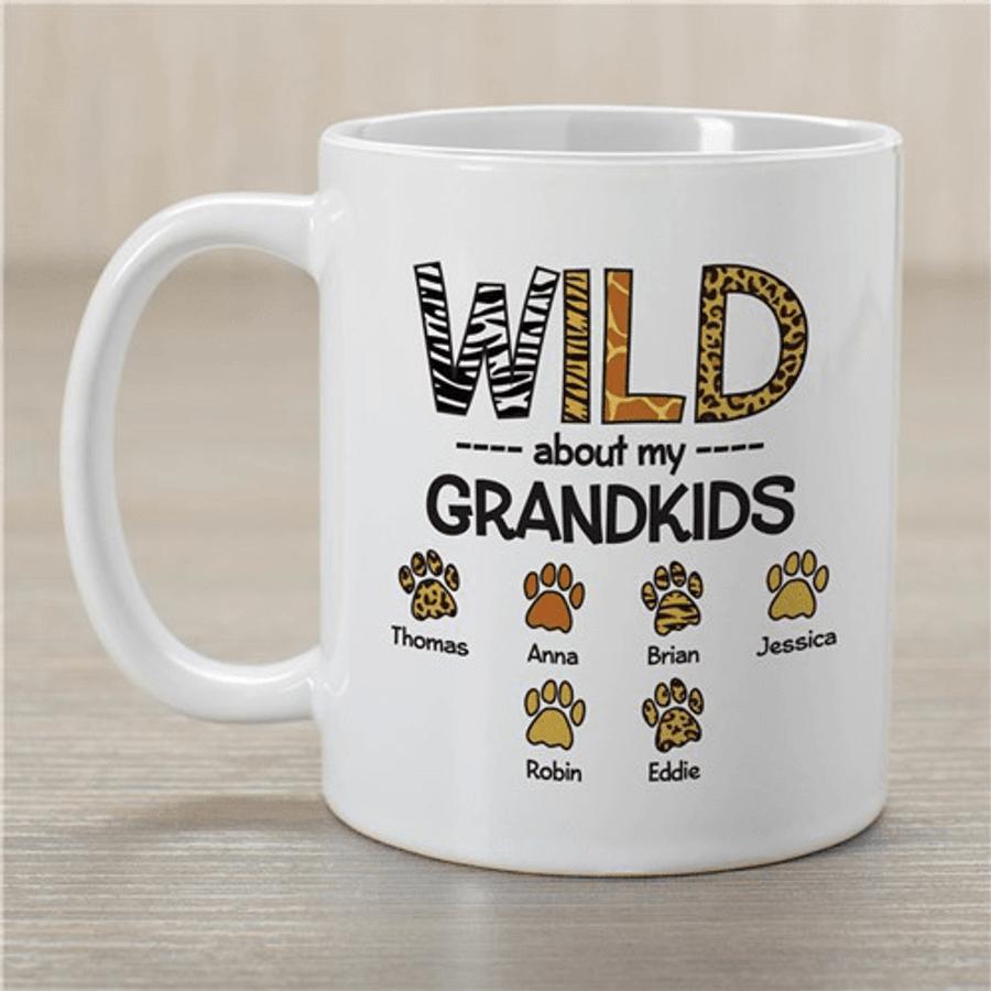 """Personalized Grandma Mug """"Wild About My Grandkids"""""""