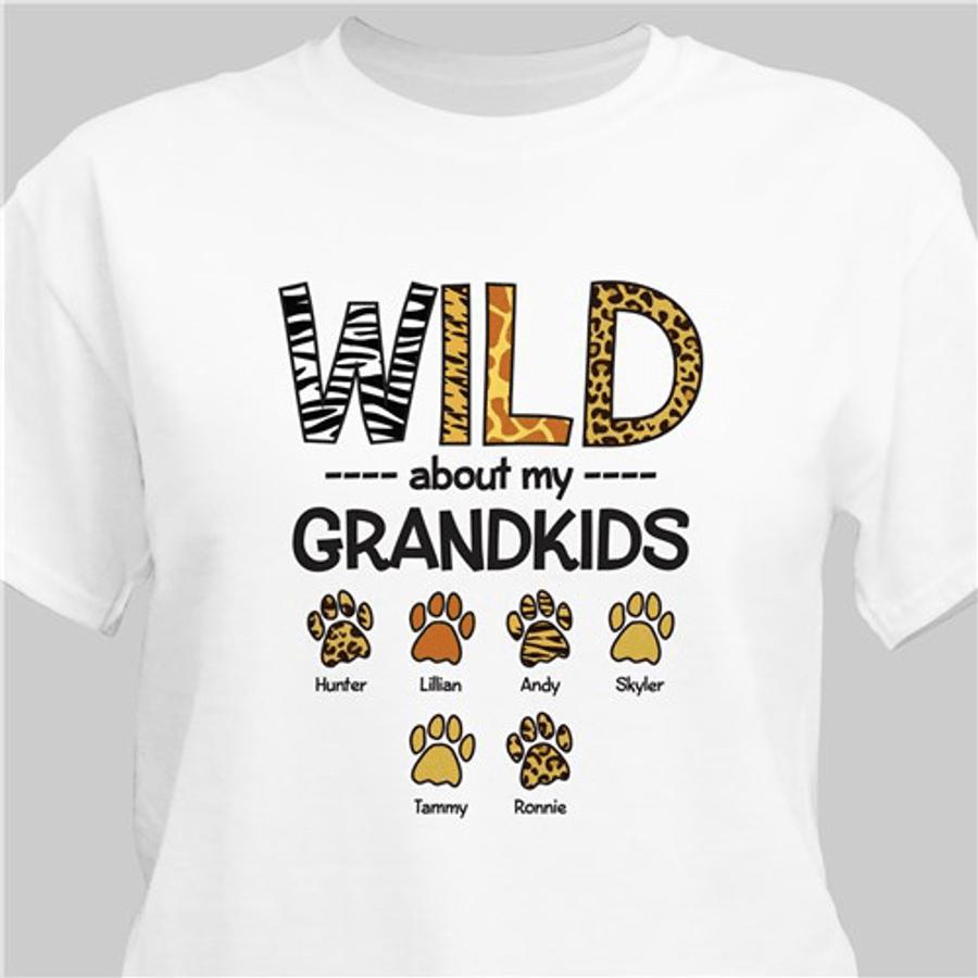 """Personalized Grandma T-Shirt """"Wild About My Grandkids"""" - White"""