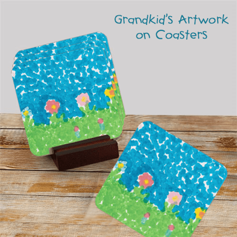 Grandkid Artwork Coaster Set for Grandma