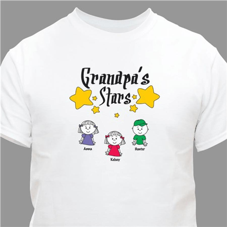 Personalized T-Shirt - GrandPa's Stars - White
