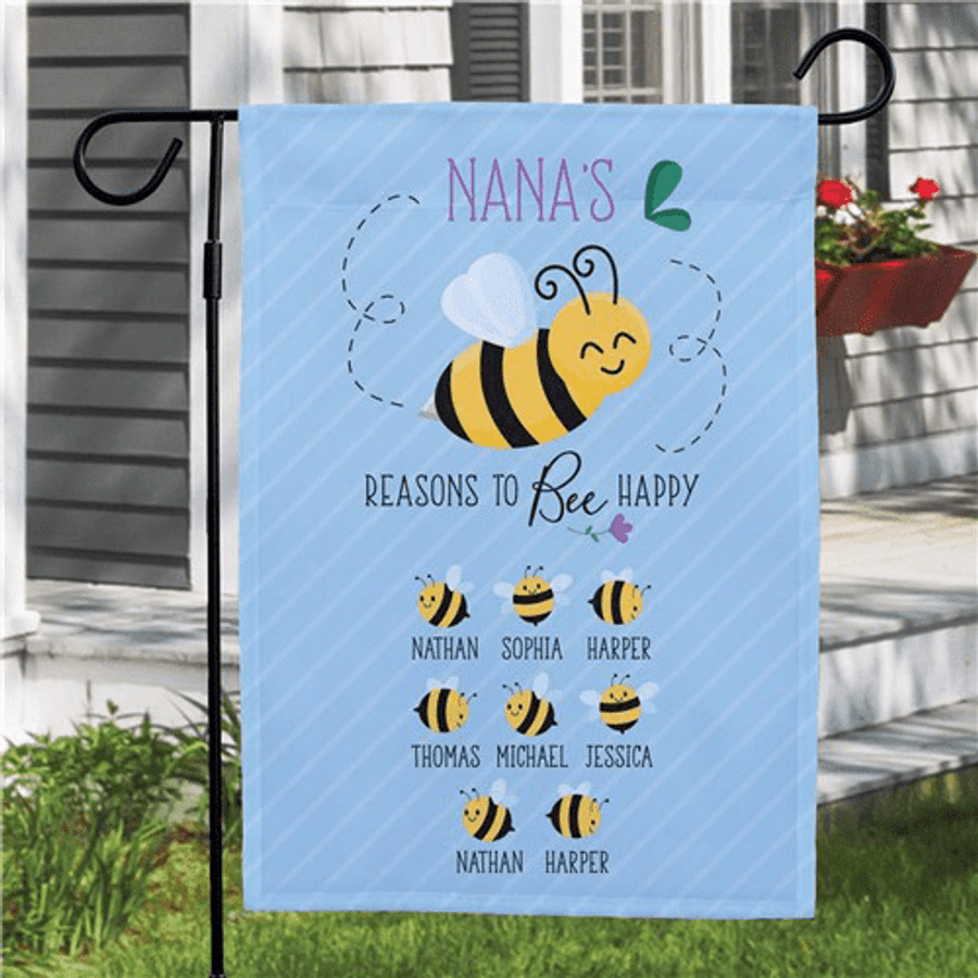 "Personalized Flag - Grandma's ""Reasons To Bee Happy"""
