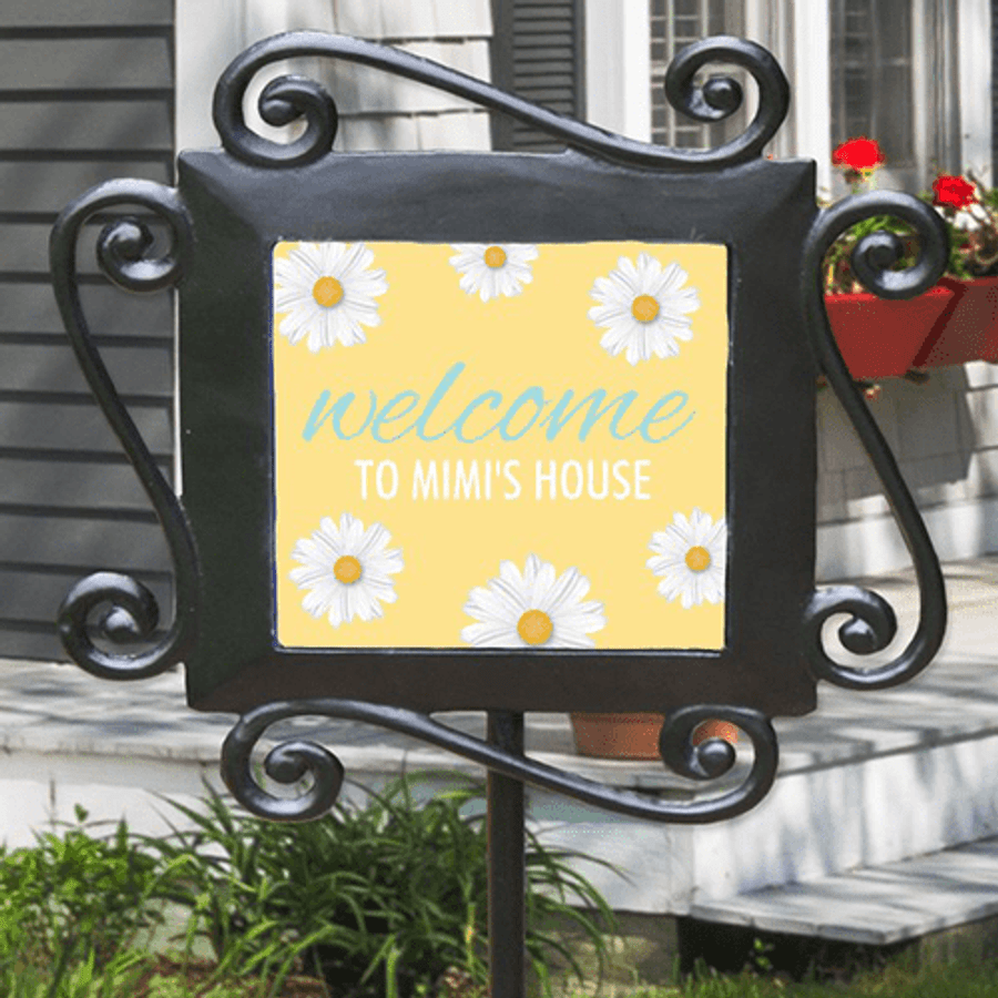 "Personalized ""Welcome to Grandma's"" Ceramic Tile Stake"