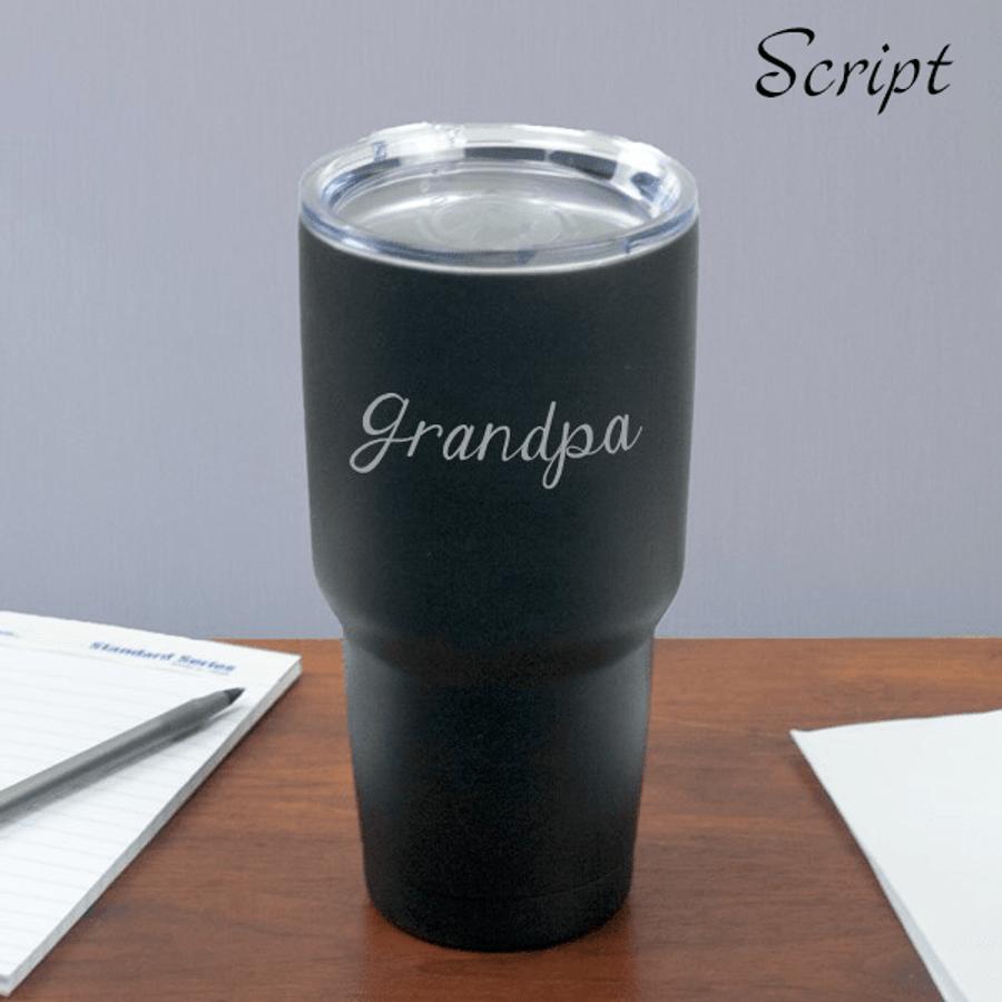 Personalized Travel Mug for Grandpa - Script Lettering