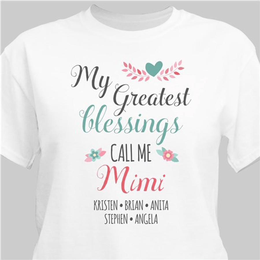 """Personalized for Grandma: """"My Greatest Blessings"""" T-Shirt"""
