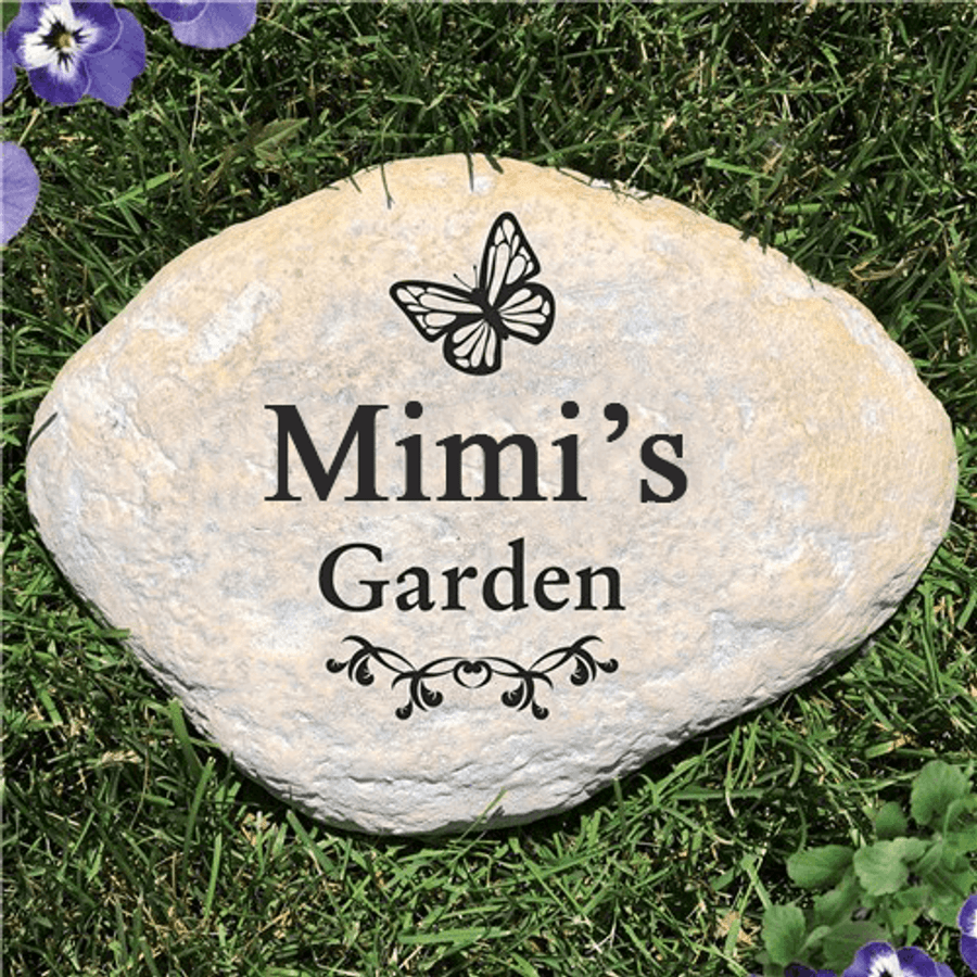 Personalized Butterfly Stone - Grandma's Garden