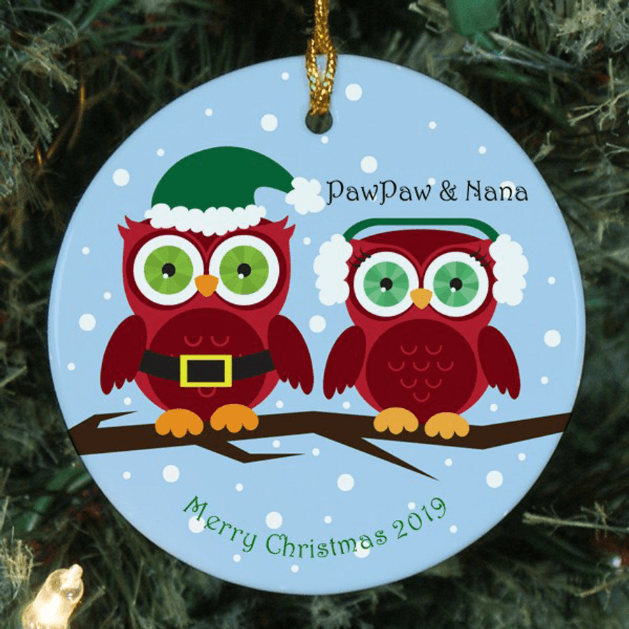 Personalized Owl Family Ornament for Grandma and Grandpa