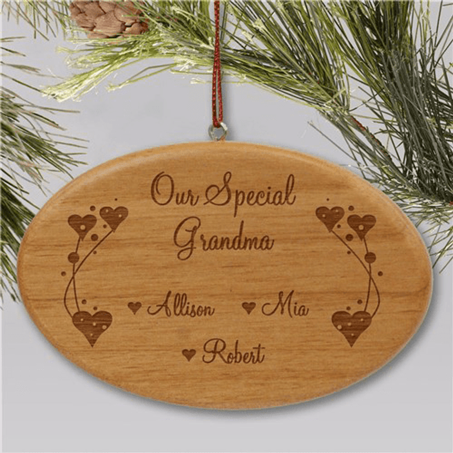 Personalized wood ornament for a special person.