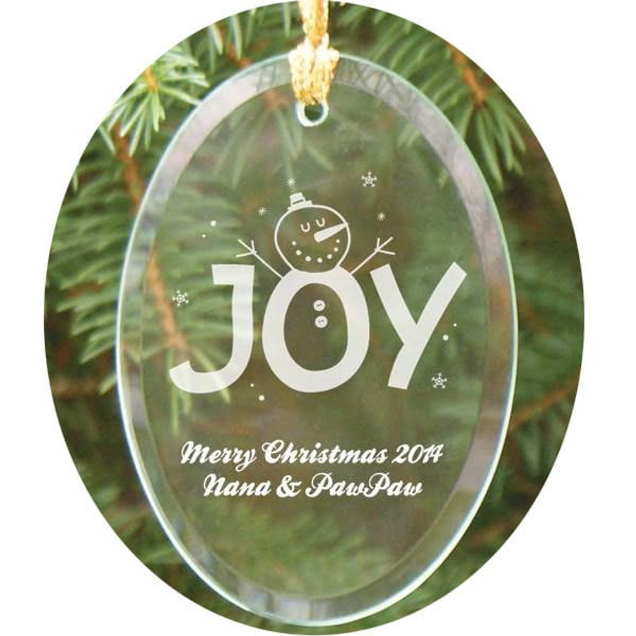 Personalized Joy Glass Ornament PawPaw and Nana