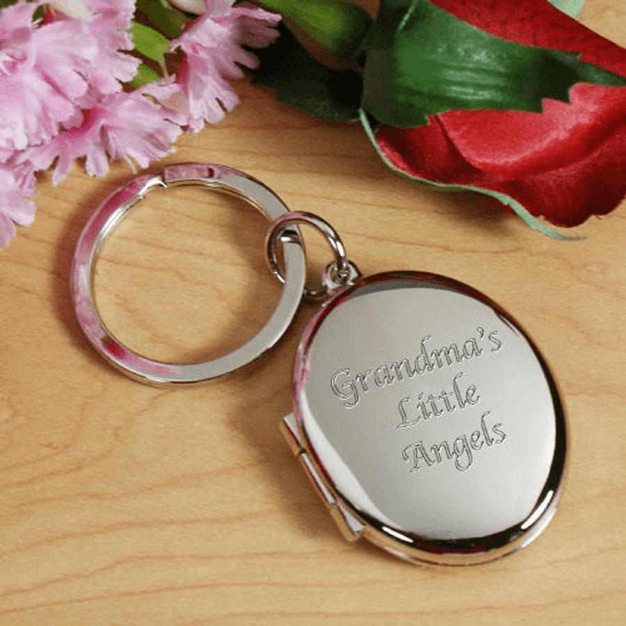 Personalized Silver Locket Key chain for Grandma