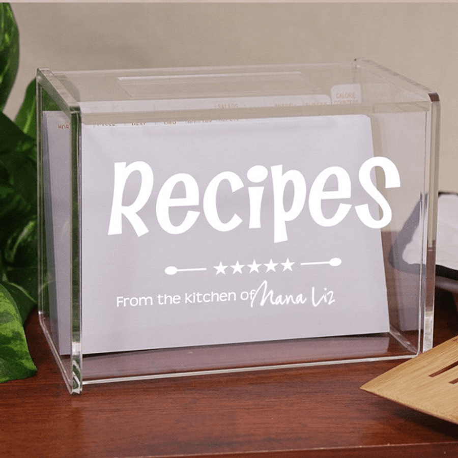 Personalized Acrylic Recipe Box For Grandma