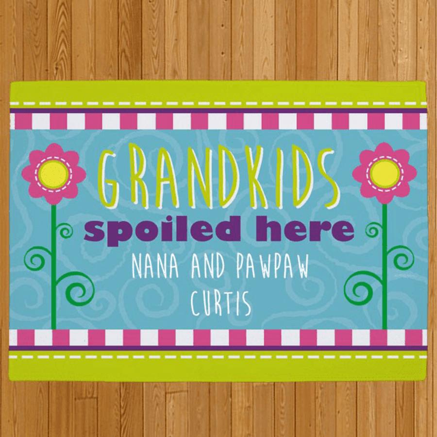 Personalized Doormat for Grandma - Grandchildren Spoiled Here