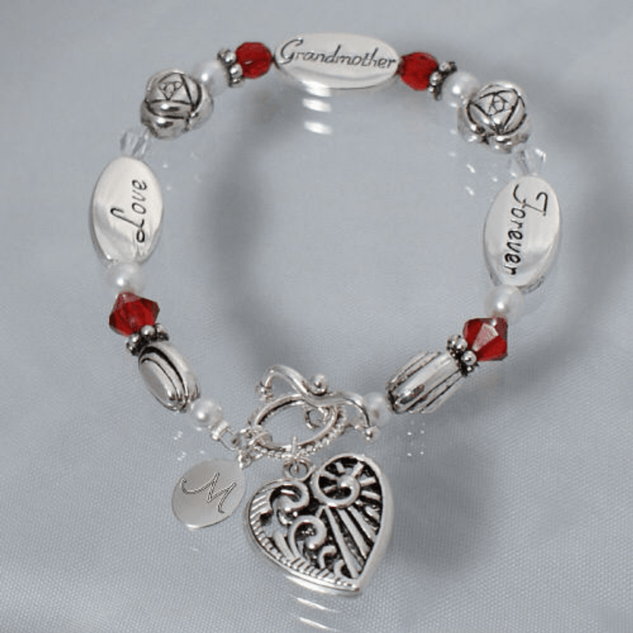 Grandmother Bracelet with Personalized Initial