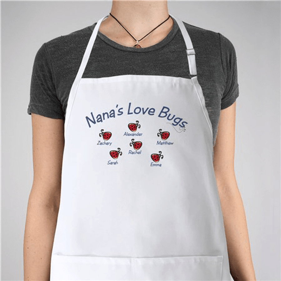 Personalized Apron - Love Bugs in white!