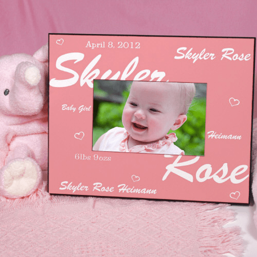 Personalized Frame With Hearts For Your New Baby Girl The
