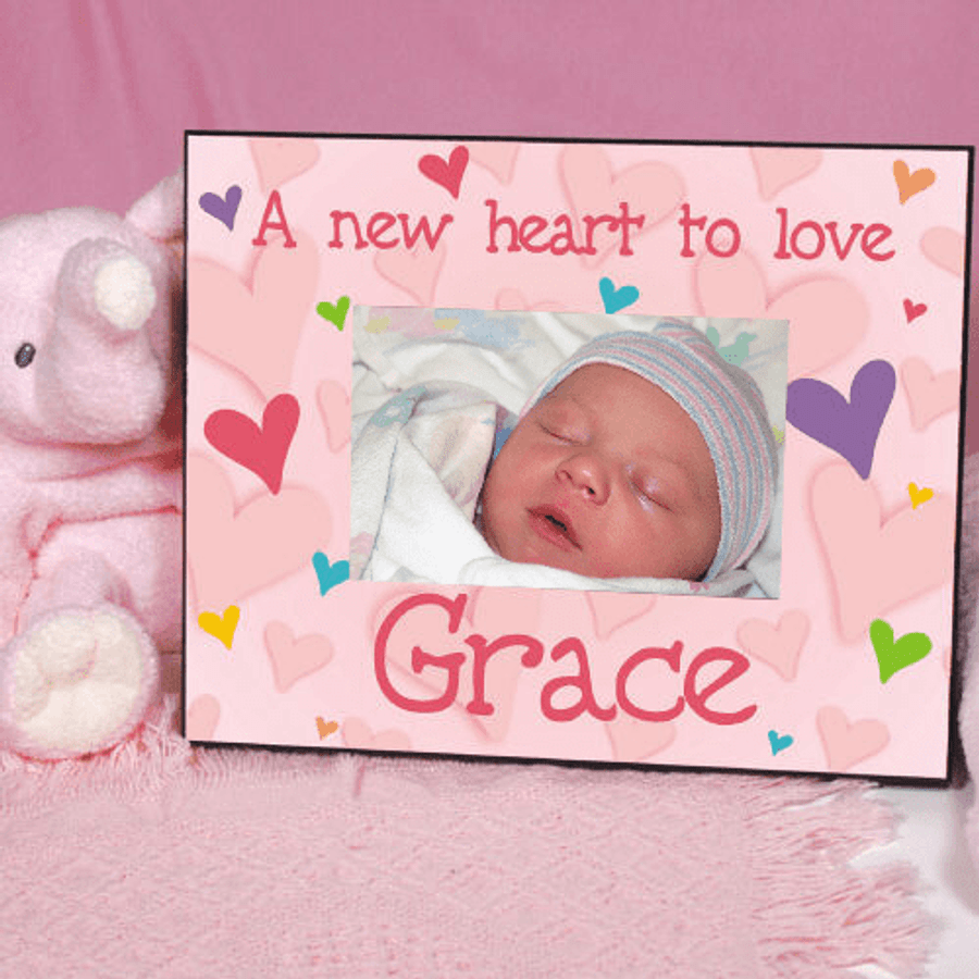 Personalized Frame for Your New Baby Girl, A New Heart to Love