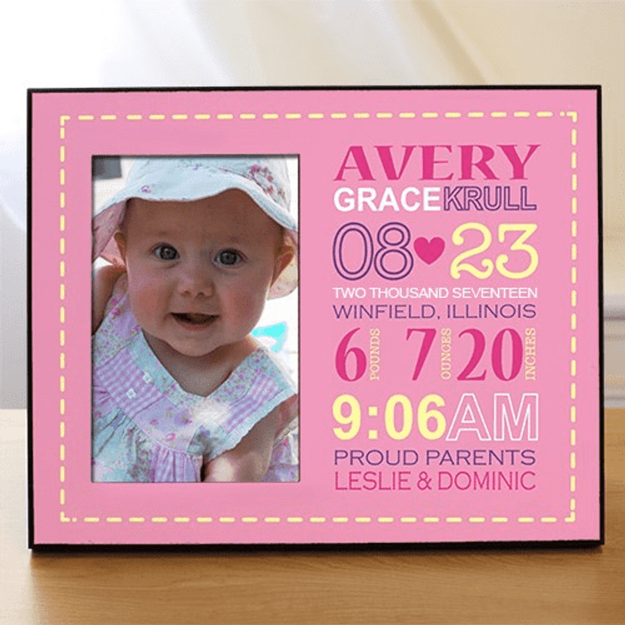 Personalized Birth Announcement Frame for Baby Girl