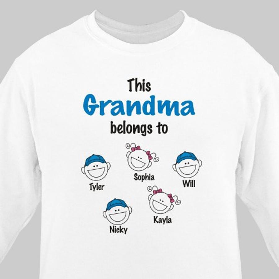 Super Cute Sweatshirt, This Grandma Belongs To .... (White)