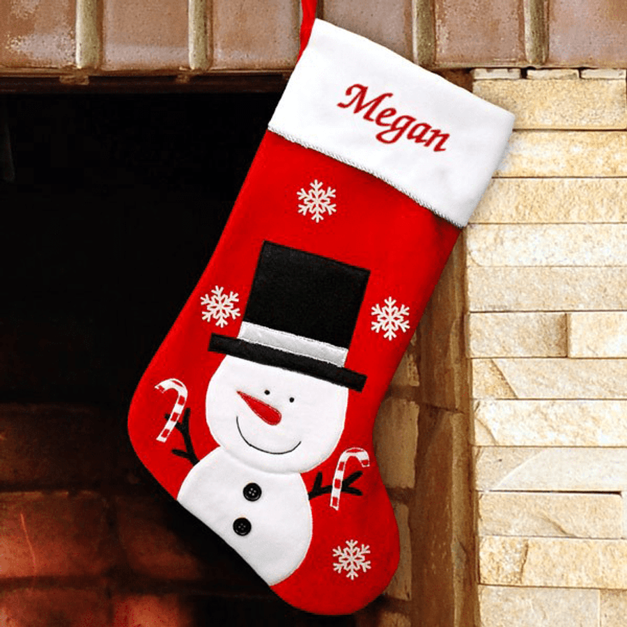Personalized Christmas Stockings.Personalized Christmas Stocking Featuring Frosty
