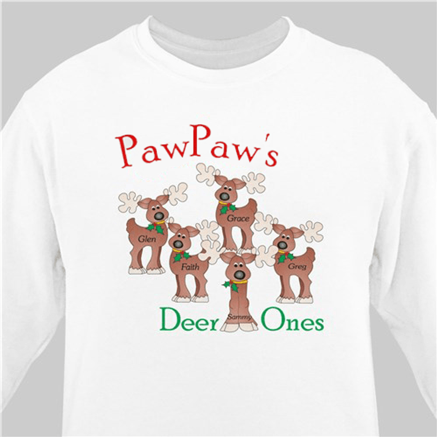 Personalized Christmas sweatshirt for Grandpa and his Deer Ones!