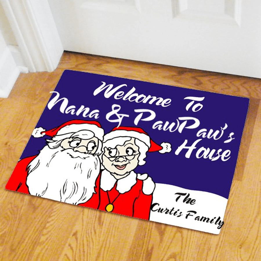 Personalized Christmas door mat with Mr. & Mrs. Claus to welcome friends and family to your home.