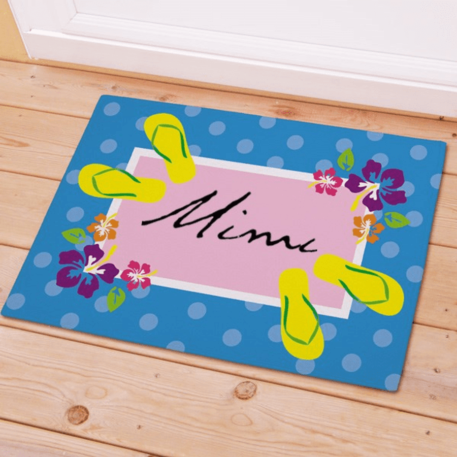 Personalized Doormat for Grandma decorated with Flowers & FlipFlops