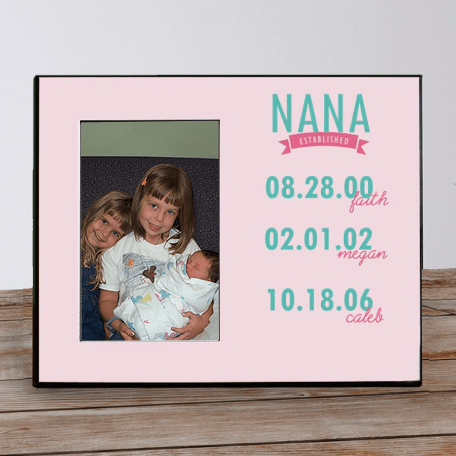 Personalized Frame Grandma with grandkids' names and birthdates