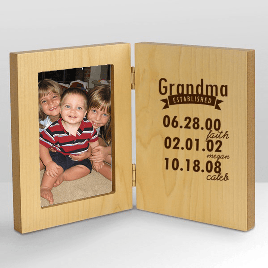 Lovely wood frame lets everyone know when grandma was established, and how many times!