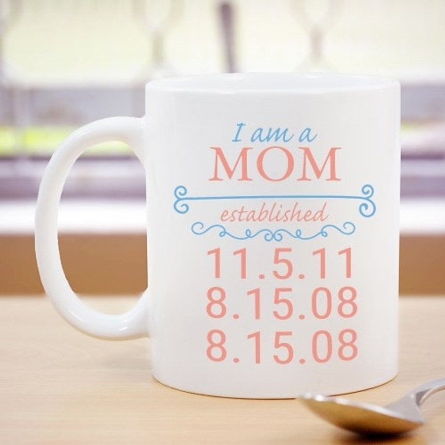 White ceramic mug with dates to establish a Grandma.